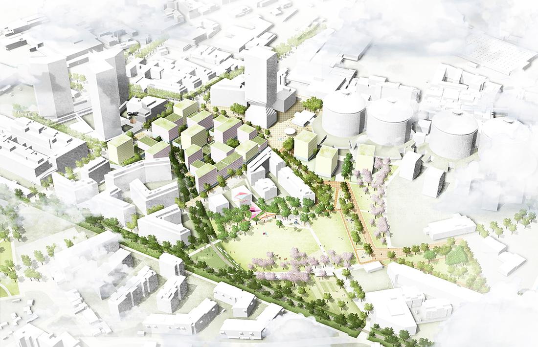 01_Gasometervorfeld-Vogelperspektive-EG_Carla Lo Landschaftsarchitektur/BWM Architekten